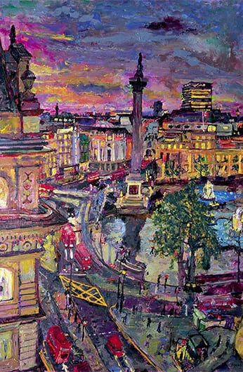 4 Rain Trafalgar Square from Five Strand 2006 122x81cms SOLD