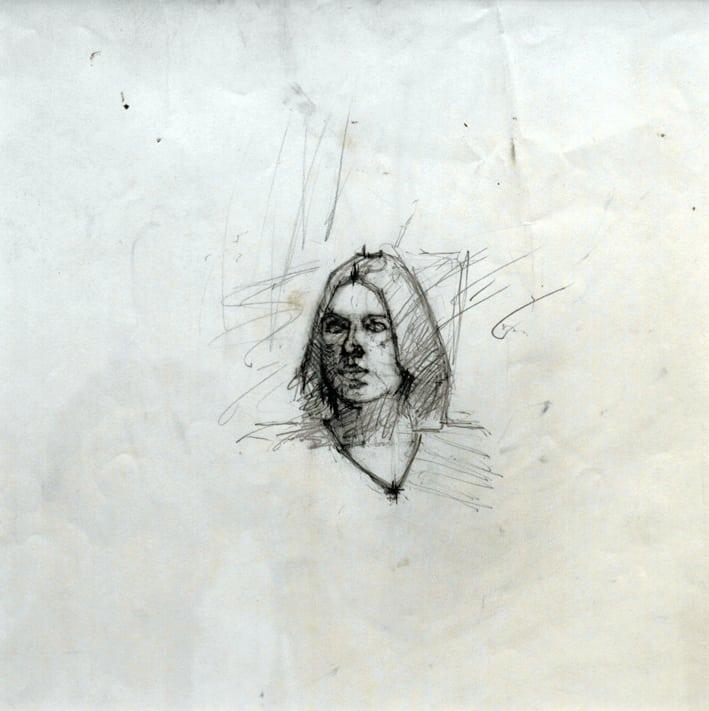 Girl's Head, Pencil, 30.5x29.8cm