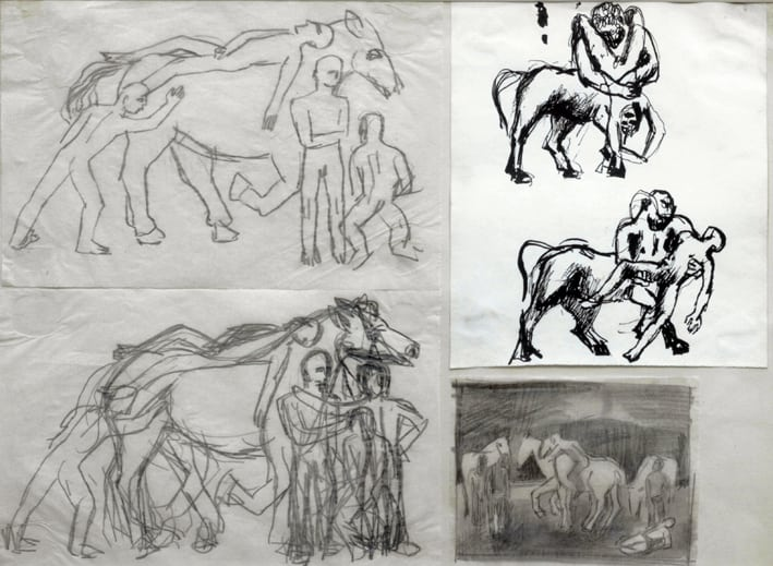 Keith Vaughan, 1912-1977, Four Drawings, Circa 1940, Medium Pen & pencil, Provenance Redfern Gallery