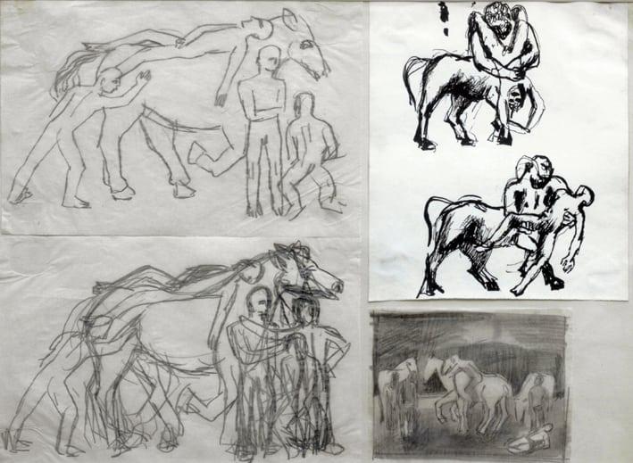Keith Vaughan, 1912-1977, Four Drawings, Circa 1940, Medium Pen & pencil, Provenance Redfern Gallery
