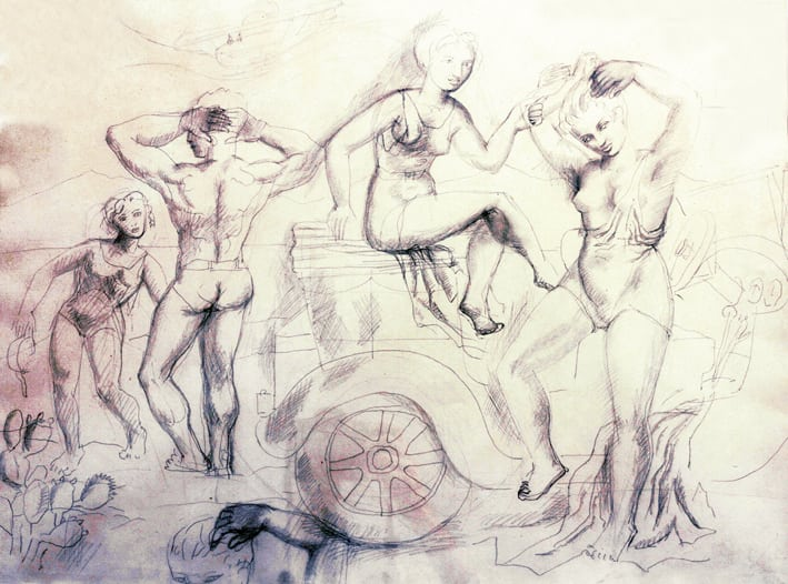 Three_sailors_and_a_girl_1927_Pencil_on_Paper_47x62cm