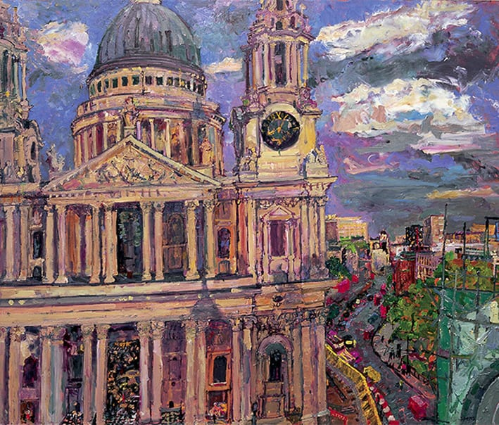 From the roof of One St Pauls Churchyard Evening 2006 86x103cms