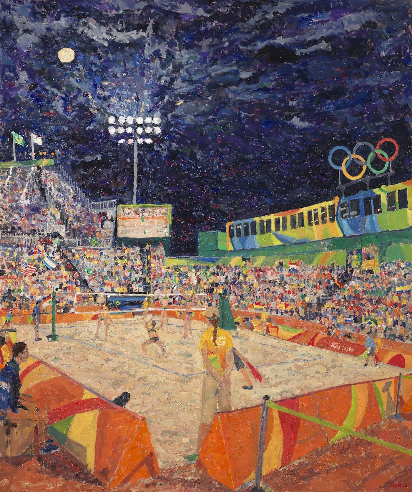 night games beach volleyball
