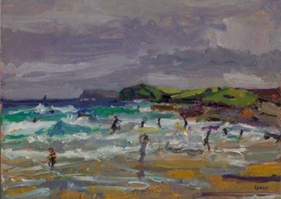 9 Surfers Overcast Harlyn. Bay 2015