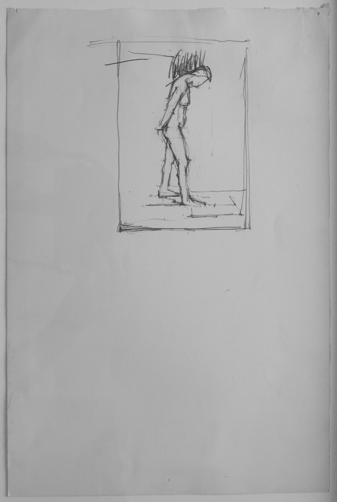 Euan Uglow 1932-2000 Standing nude, head bent forward 37.5x25cm