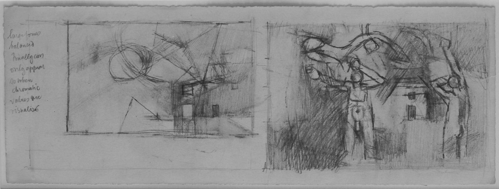 Keith Vaughan 1912-1977 Study for Fruit Picker 1947 Pencil on paper 12.7x35cm