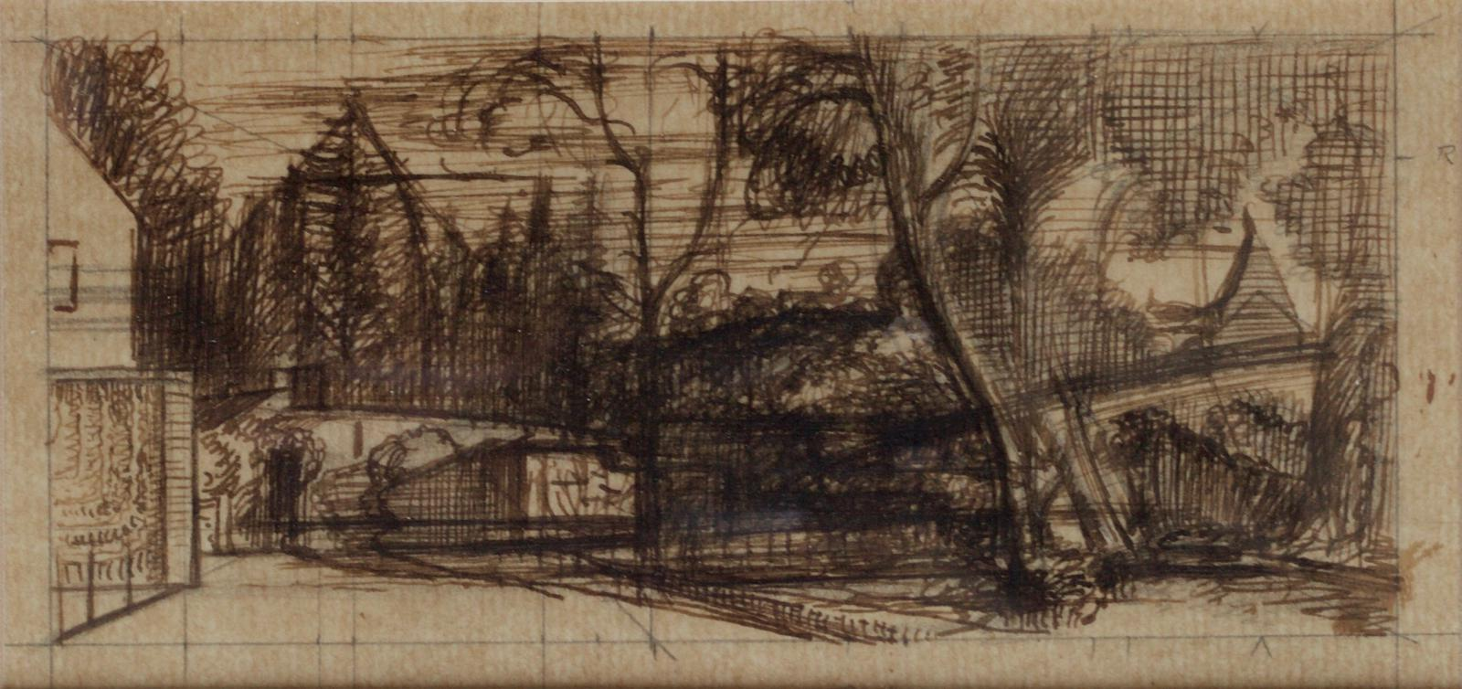 Sir Thomas Monnington Study for the Postman 1948 Wash over pencil on tracing paper 10.2x16.5cm