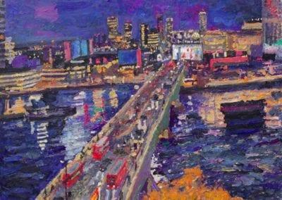 SN453 Night, Waterloo Bridge and Southbank. 2019.