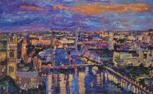 Clear night, Westminster from Millbank. 2014